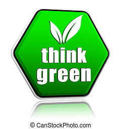 think green with leaf sign in green button