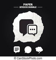 think., icons., スピーチ, チャット, 漫画, 泡, signs.