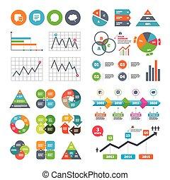 think., icons., discurso, charla, cómico, burbuja, signs.