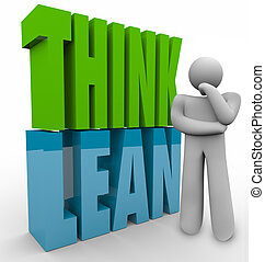 Think Lean in 3d letters next to a person to illustrate managing or running a new or startup business with efficient and productive principles