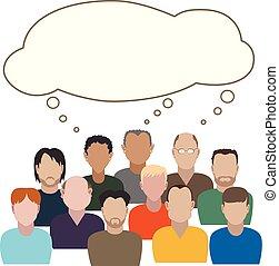 think., mannen, groep, algemeen, hebben