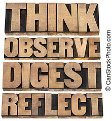 think, observe, digest, reflect - a set of motivational words - isolated text in letterpress wood type