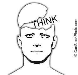 Think Open Top Head - Conceptual image of a man with a...
