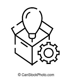 Think out of the box line icon, concept sign, outline vector illustration, linear symbol.
