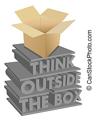 think outside the box 3d concept