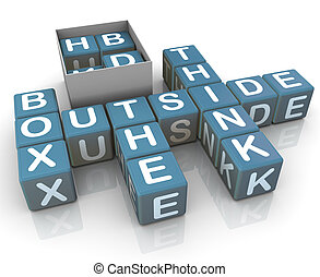 Think outside the box - 3d render of crossword think outside...