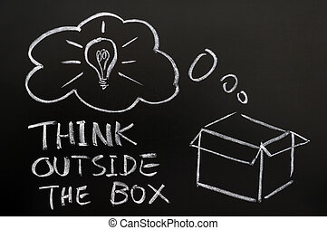 Think outside the box drawn in chalk on a blackboard