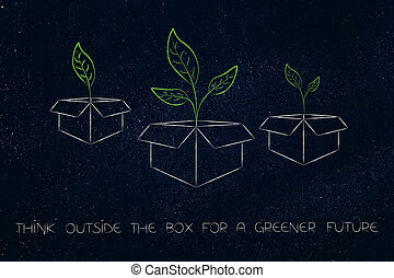 think outside the box for a greener future, group of parcels with leaves growing out of it
