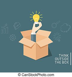 Think Outside The Box, Ideas Concept Of Opened Box With Hand Holding A Light Bulb