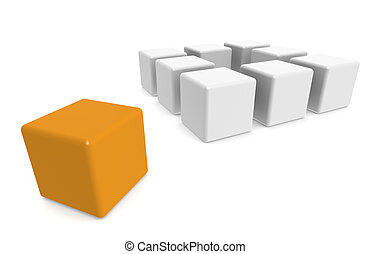 Think Outside The Box - One orange cube Outside The Box...