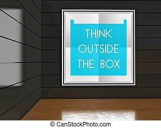 Think outside the box poster, gallery interior