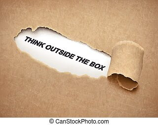 think outside the box words behind torn paper