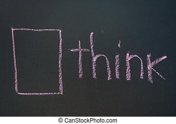 Think Outside the Box written in white chalk on a black chalkboard