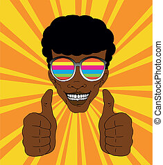 Happy man wearing colorful sunglasses and lifting his thumbs