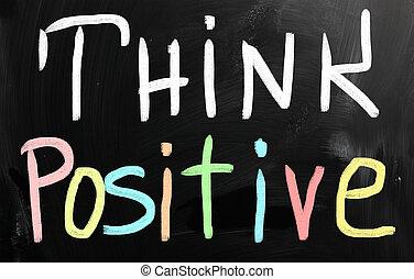 """""""think, positive"""", manuscrito, com, branca, giz, ligado, um, quadro-negro"""
