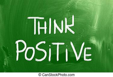 """""""think, positive"""", manuscrito, com, giz, ligado, um, chalkboard"""