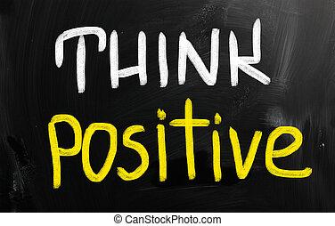 """""""think, positive"""", manuscrito, com, giz, ligado, um, quadro-negro"""