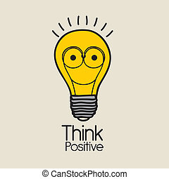 think positive over pink background vector illustration