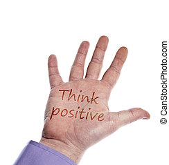 Think positive writed on hand