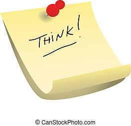 Think sticky note - Pinned with a red tack yellow sticky...