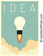 Think Successful vision idea concept with icon of light bulb with jet . Eps10 vector illustration, Symbol Growth, economy, investment , technology and leadership , Minimalist retro poster