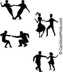 think swing dancers - dancers in silhouette over white from ...