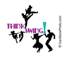 think swing dancers from the 50's era in silhouette