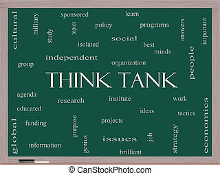 Think Tank Word Cloud Concept on a Blackboard