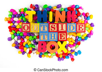 thinkd outside the box word in colorful stone