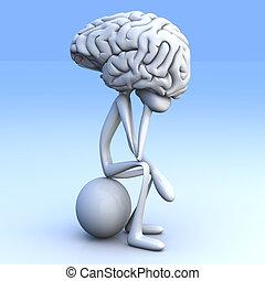 Thinker - A cartoon figure con a huge brain. 3D rendered ...