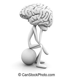 Thinker - A cartoon figure con a huge brain. 3D rendered...