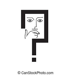 thinker - Thinker. The man's face in the frame of the...