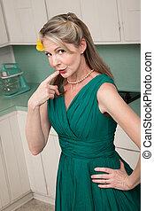 Thinker Woman - Beautiful Caucasian housewife in kitchen ...