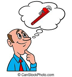 A cartoon illustration of a man thinking about a Pipe Wrench.
