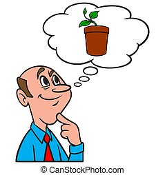 Thinking about a Potted Plant - A cartoon illustration of a ...
