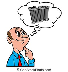 Thinking about a Radiator - A cartoon illustration of a man ...