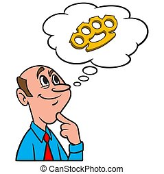 Thinking about Brass Knuckles - A cartoon illustration of a ...