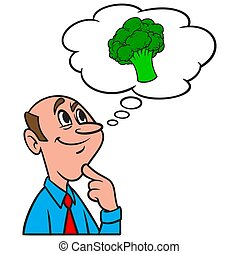 Thinking about Broccoli - A cartoon illustration of a man ...