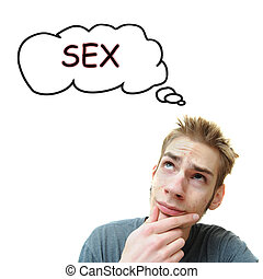 Thinking About Sex - A young white male adult thinks about...