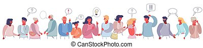 Thinking and talking people, vector flat style design illustration