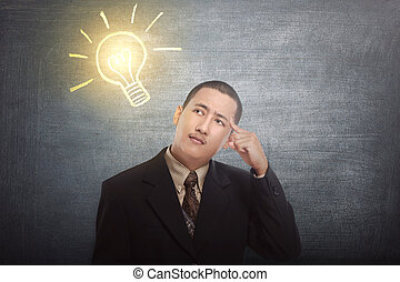 Thinking asian businessman got idea with bright light bulb over his head
