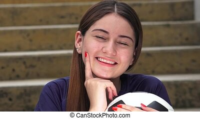 Thinking Athletic Teen Female Soccer Player