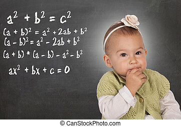 Thinking baby - Little baby thinking about mathematic...