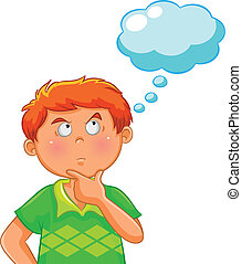 thinking boy - boy thinking with a blank thought bubble over...