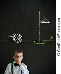 Thinking boy business man with chalk golf ball flag green