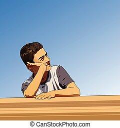 Thinking boy in summer