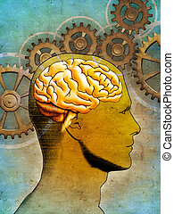 Thinking brain - Conceptual image of an human head and some...