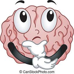 Thinking Brain Mascot - Illustration of Thinking Brain...