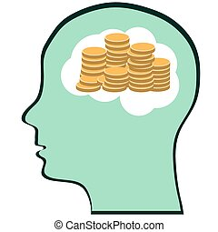 Thinking Brain Money Mind - a concept showing a head/brain think