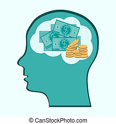 Thinking Brain Money Mind, concept showing a head, brain thinking about money